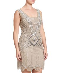 Adrianna Papell Gray Sleeveless Beaded Cocktail Dress