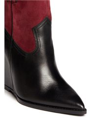 Ash - Red 'jude' Conceal Wedge Leather And Suede Ankle Boots - Lyst