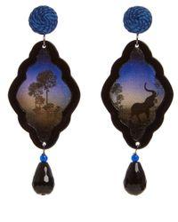 Anna E Alex - Brown Elephant Safari Deco Wooden Earrings - Lyst