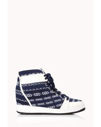 Forever 21 - Blue Globetrotter Wedge Sneakers - Lyst