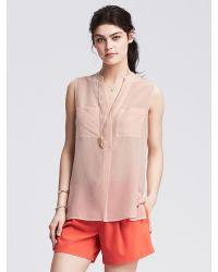 Banana Republic | Pink Light Silk Sleeveless Popover Blouse | Lyst