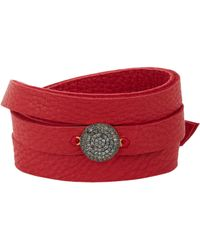 Feathered Soul | Red Black Pave Diamond Disc & Leather Wrap Bracelet | Lyst