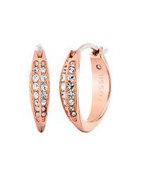 Fossil | Metallic Glitz Hoops Earrings | Lyst