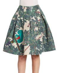 Oscar de la Renta Green Parrotembroidered Forestprint Skirt