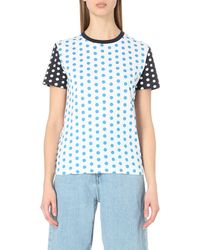 J.W.Anderson - Blue Polka-dot Cotton-jersey T-shirt - Lyst