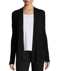 Eileen Fisher Black Straight Fine-knit Open Cardigan
