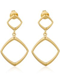 Dinny Hall | Metallic Gold Vermeil Cushion Double Drop Earrings | Lyst
