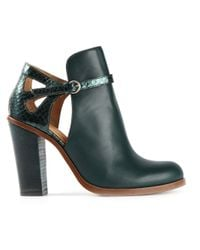 MM6 by Maison Martin Margiela - Green Cut Out Ankle Boots - Lyst