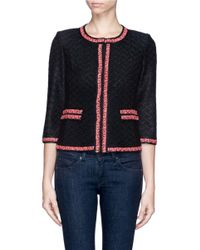 St. John - Black Tweed Trim Basket Weave Boucle Jacket - Lyst
