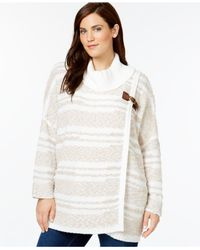 Calvin Klein White Plus Size Wrap-look Eyelash-striped Sweater