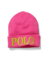 Polo Ralph Lauren - Pink Embroidered Wool-blend Beanie - Lyst
