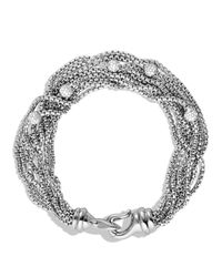 David Yurman Metallic Eight-row Chain Bracelet With Diamonds