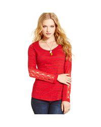 American Rag | Red Striped Crochetknit Panel Top | Lyst