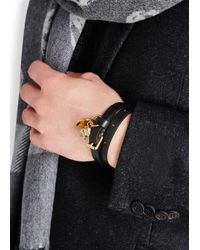 Alexander McQueen | Black Leather Wrap Bracelet for Men | Lyst