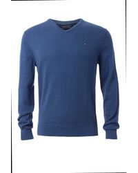 Tommy Hilfiger | Blue Pima Cashmere V-neck Sweater for Men | Lyst