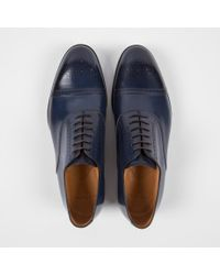 Paul Smith Blue Men's Navy Brush-off Calf Leather 'berty' Brogues for men