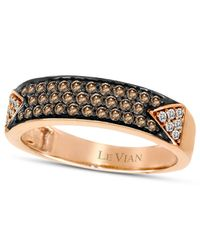 Le Vian | Brown Chocolate Diamond (1/3 Ct. T.w.) And White Diamond (1/10 Ct. T.w.) Pave Band In 14k Rose Gold | Lyst