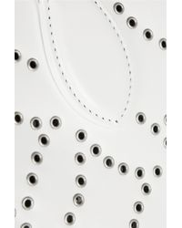 Alaïa - White Trapeze Arabesque Embellished Leather Tote - Lyst