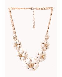 Forever 21 | Metallic Sweet Floral Bib Necklace | Lyst