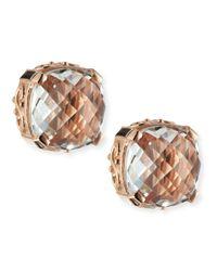 Suzanne Kalan | Orange 14K Rose Gold White Topaz Cushion Stud Earrings | Lyst