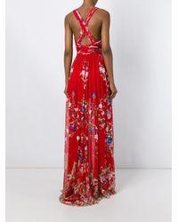 Roberto Cavalli Red Floral Print Long Dress