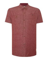 Bellfield | Red Marl Short Sleeve Button Down Collar Shirt for Men | Lyst