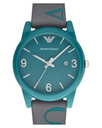 Emporio Armani - Blue Silicone Strap Watch for Men - Lyst
