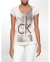 Calvin Klein | Pink Jeans Stud Logo Cotton Blend Short Sleeve Top | Lyst
