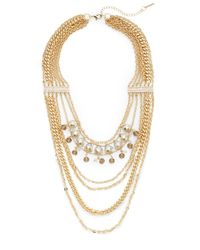 Saks Fifth Avenue | Metallic Multi-strand Chain & Bead Draped Necklace | Lyst