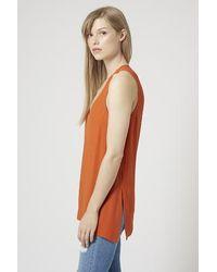 TOPSHOP - Orange V-neck Tunic - Lyst