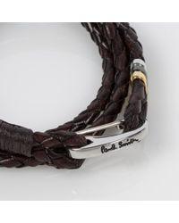 Paul Smith | Men's Brown Leather Wrap Bracelet for Men | Lyst