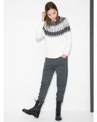 Mango Gray Jacquard Cotton & Wool Blend Sweater