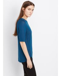 VINCE | Blue Mouline Elbow Sleeve Wrapped Seam Tee | Lyst
