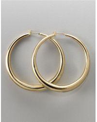 ABS By Allen Schwartz | Metallic Tapered Goldtone Hoop Earrings | Lyst