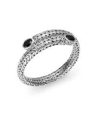 John Hardy Metallic Batu Classic Black Chalcedony  Sterling Silver Coil Bracelet