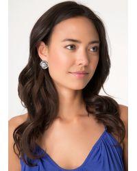 Bebe Metallic Large Crystal Stud Earrings