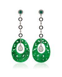Nina Runsdorf | Green Jade And Diamond Earrings | Lyst