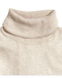 H&M Natural Fine-Knit Polo-Neck Jumper