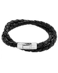 Tateossian | Double Wrap Scoubidou Black Leather Bracelet With Silver Clasp for Men | Lyst