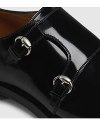 Gucci Black Shiny Leather Monk Strap Shoe for men