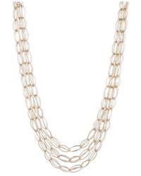 Anne Klein | Metallic Gold-tone Three Row Collar Necklace | Lyst