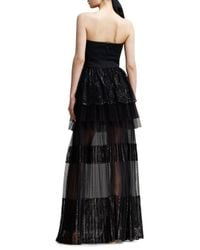 Chloé - Strapless Tiered Lace Gown Black - Lyst