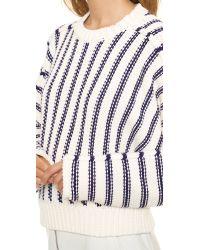 T By Alexander Wang Blue Chunky Dolman Long Sleeve Pullover - Ivory & Iris