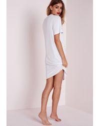 Missguided - Sleepysaurus Night Dress White - Lyst
