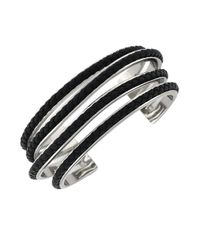 Cole Haan | Black Braided Leather Cuff Bracelet | Lyst