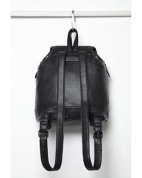 Forever 21 Black Faux Leather Drawstring Backpack