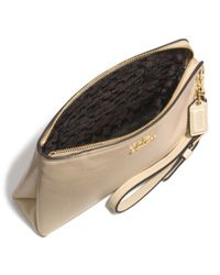 COACH - Gray Large Pouch Wristlet In Leather - Lyst