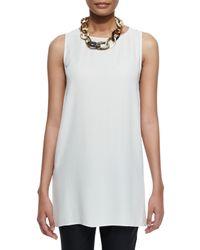 Eileen Fisher | White Sleeveless Silk Long Shell | Lyst