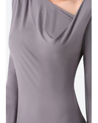 Bebe Gray Asymmetric Neck Midi Dress