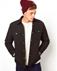 ASOS - Black Jacket in Quilted Fabric for Men - Lyst
